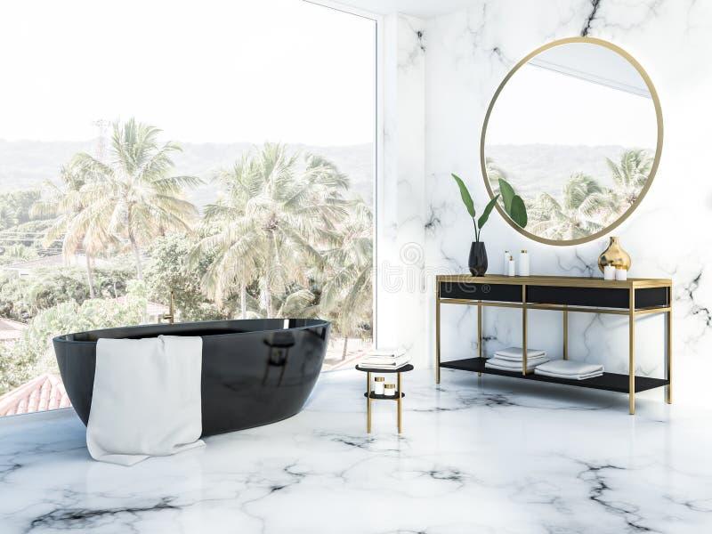 Панорамная белая мраморная ванная комната, черный ушат иллюстрация штока