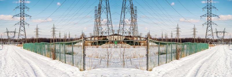 Панорамная сцена опор зимы стоковые изображения rf