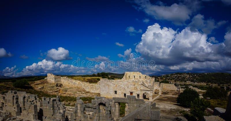 Панорамное здание Bouleuterion в древнем городе Patara Pttra Актовый зал публики Lycia стоковая фотография rf
