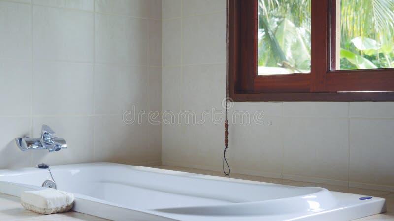 Панорамное окно на взгляде джунглей в тропическом острове в солнечном дне, ванной комнате курорта стоковые фото