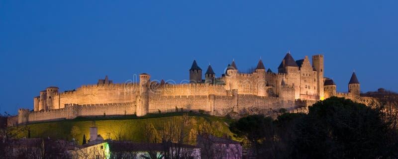 панорамное carcassonne темное стоковые изображения