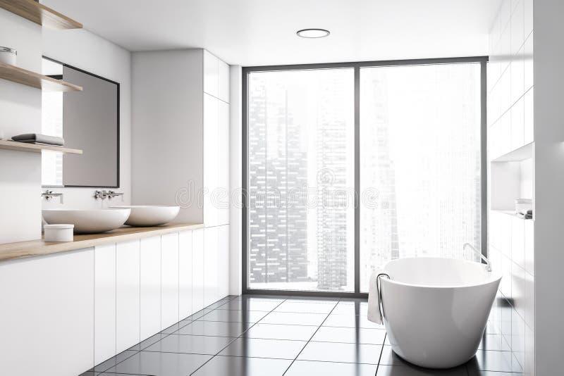Панорамные белые интерьер, раковина и ушат bathroom иллюстрация штока