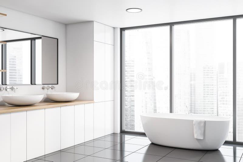 Панорамные белые угол, раковина и ушат bathroom иллюстрация штока