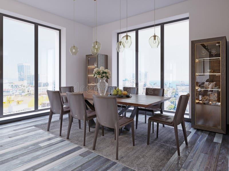 Панорамные окна в роскошной столовой с деревянным столом и кожаными стульями рядом с витриной и дизайнерскими вися лампами иллюстрация вектора