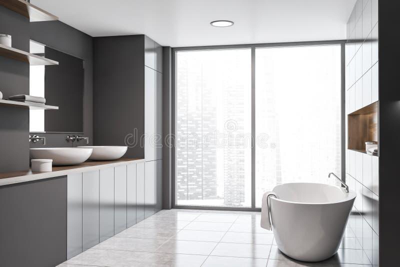 Панорамные серые интерьер, раковина и ушат bathroom бесплатная иллюстрация