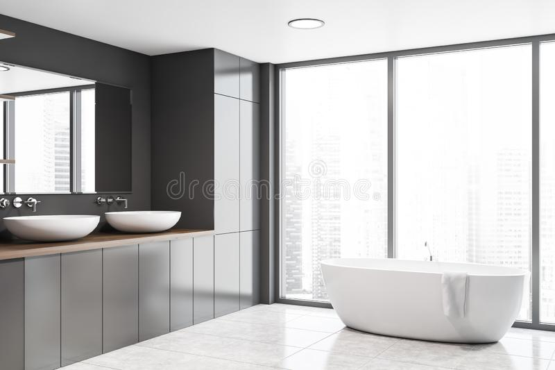 Панорамные серые угол, раковина и ушат bathroom иллюстрация штока