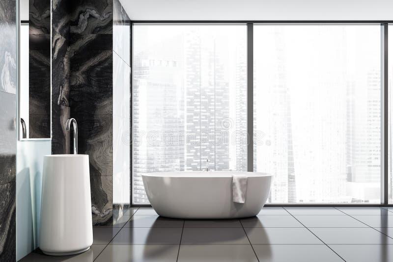 Панорамные черные мраморные bathroom, раковина и ушат иллюстрация вектора