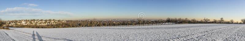 Панорамный ландшафт зимы в плохом Soden, Германии с бухтой снега стоковое фото