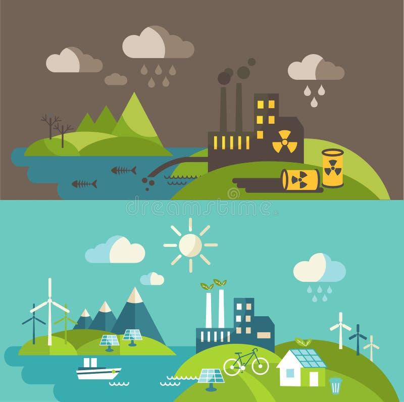 Панорамный ландшафт с концепцией экологичности и загрязнением концепции иллюстрация штока