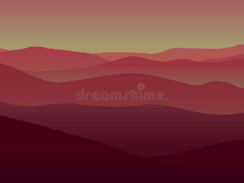 Панорамный ландшафт с холмами во время захода солнца также вектор иллюстрации притяжки corel иллюстрация штока