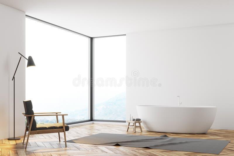 Панорамный белый угол ванной комнаты, кресло иллюстрация вектора