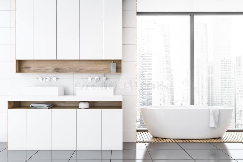 Панорамный белый bathroom, ушат и двойная раковина иллюстрация штока