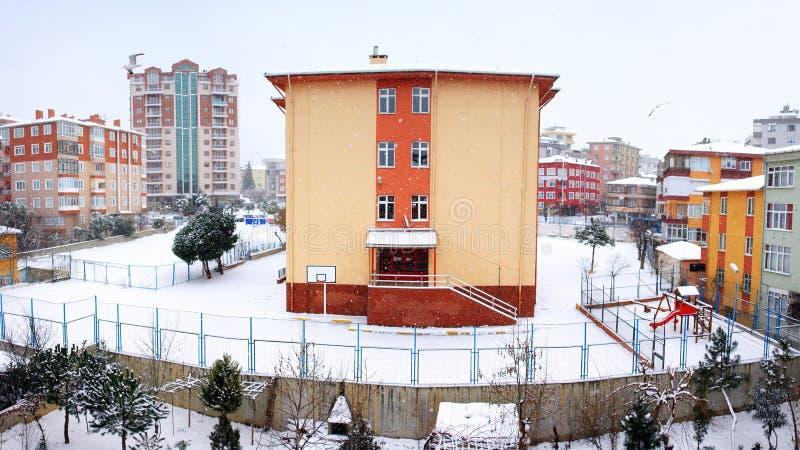 Панорамный взгляд зимы Стамбул стоковое фото rf
