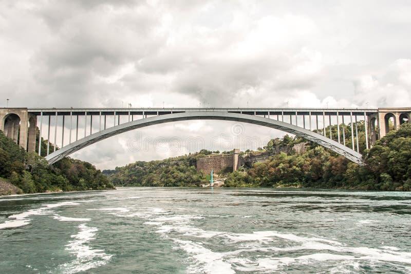 Панорамный взгляд моста радуги около границы Америки Ниагарского Водопада к Канаде стоковая фотография