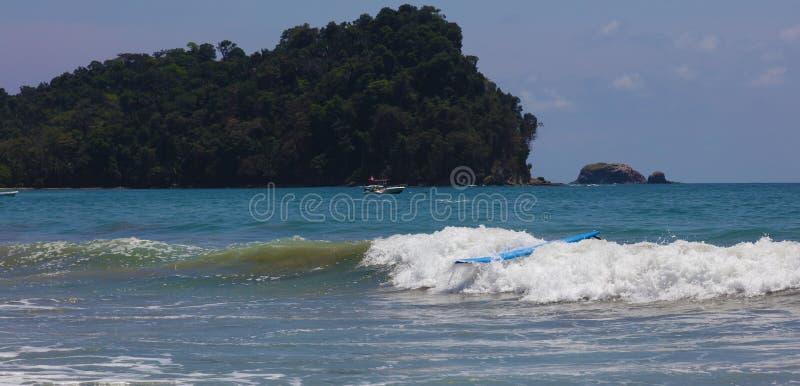 Панорамный взгляд пляжа национального парка Манюэля Антонио в Коста-Рика, большинств красивых пляжах в мире, серфер приставает к  стоковые изображения rf
