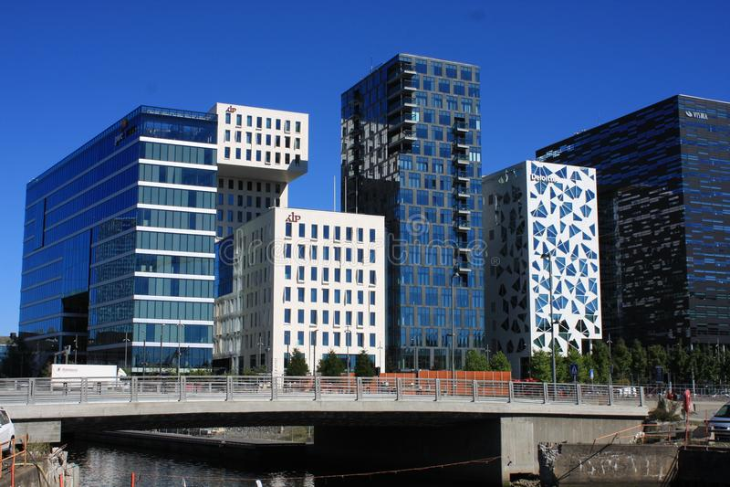 Панорамный взгляд современных зданий в Осло, Норвегии стоковое фото rf