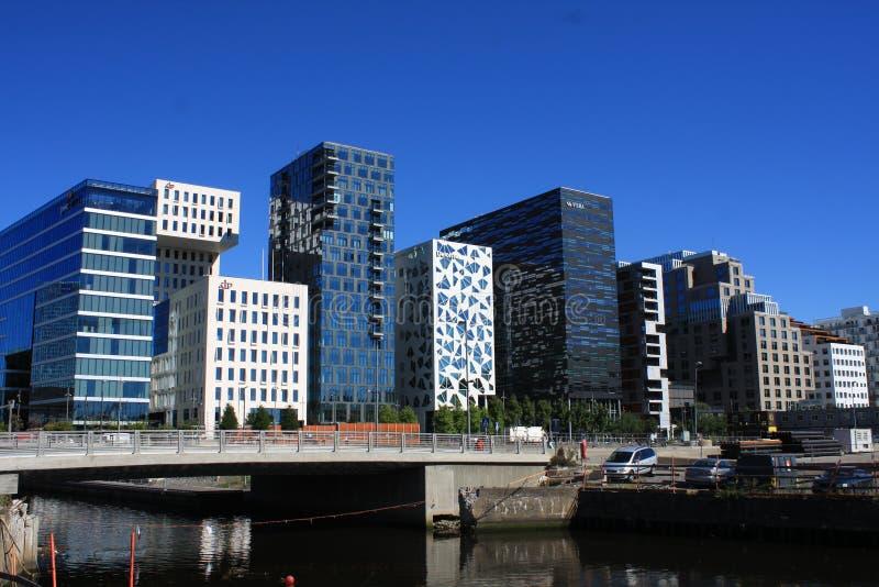 Панорамный взгляд современных зданий в Осло, Норвегии стоковая фотография