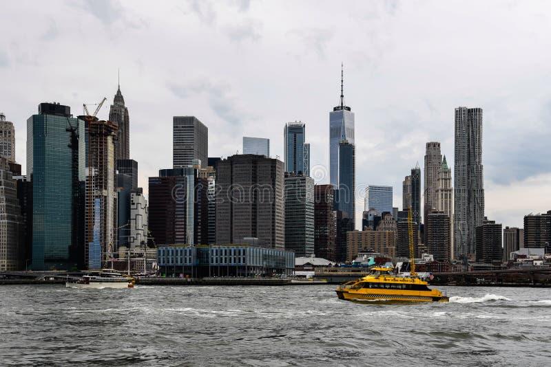 Панорамный взгляд финансового района Нью-Йорка стоковая фотография