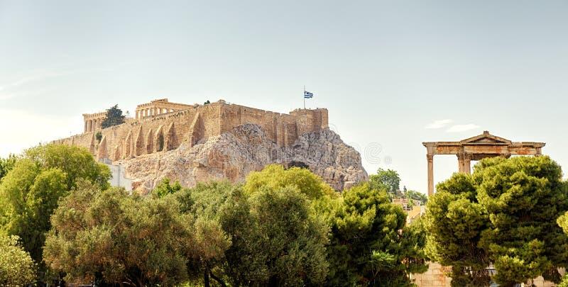 Панорамный взгляд холма акрополя, Афины, Греция стоковое фото