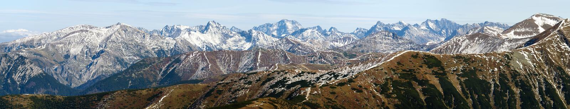 Панорамный взгляд Rohace, западных гор Tatra стоковые изображения