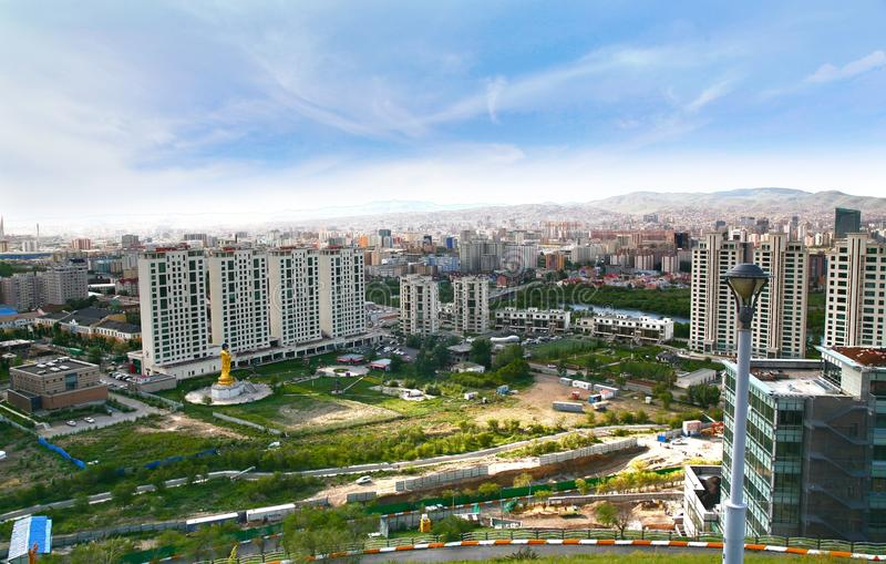 Панорамный взгляд всего города Ulaanbaatar, Монголии стоковая фотография