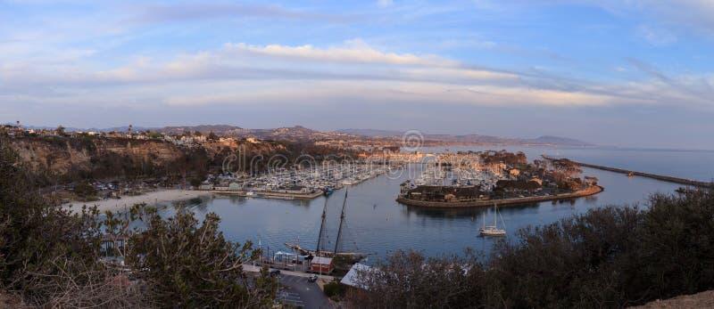 Панорамный взгляд гавани Dana Point на заходе солнца стоковая фотография rf