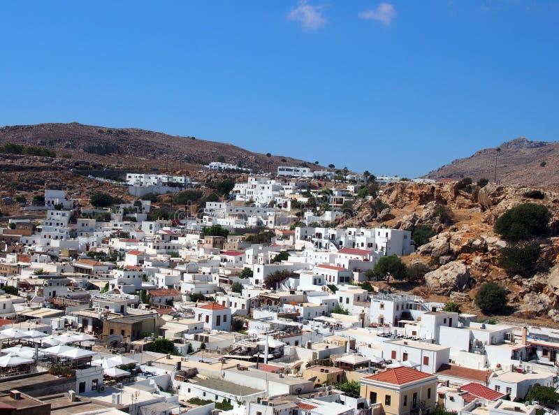 Панорамный взгляд деревни afandou в Родосе стоковые фотографии rf