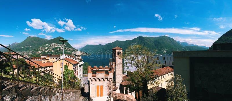 Панорамный взгляд Лугано, Швейцарии стоковое изображение