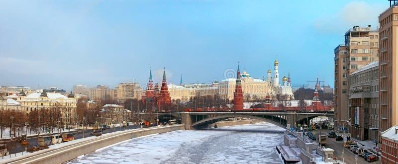 Панорамный взгляд Москвы Кремля - России стоковое фото rf