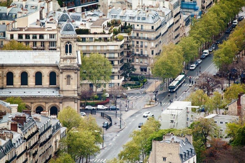 Панорамный взгляд на Париже от башни Montparnasse Франция, Европа стоковое изображение rf