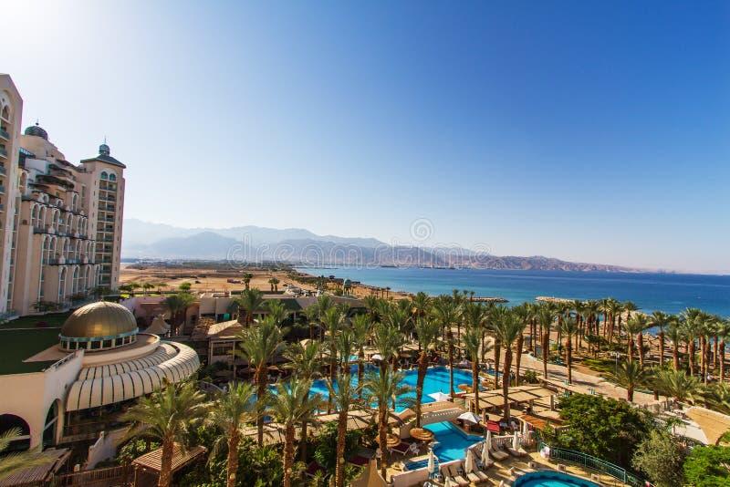 Панорамный взгляд на центральном пляже Eilat стоковая фотография