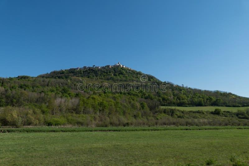 Панорамный взгляд на Motovun стоковое фото rf
