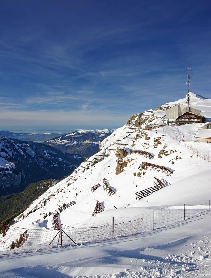 Панорамный взгляд от лыжного курорта Mannlichen к Lauterbrunne стоковое изображение
