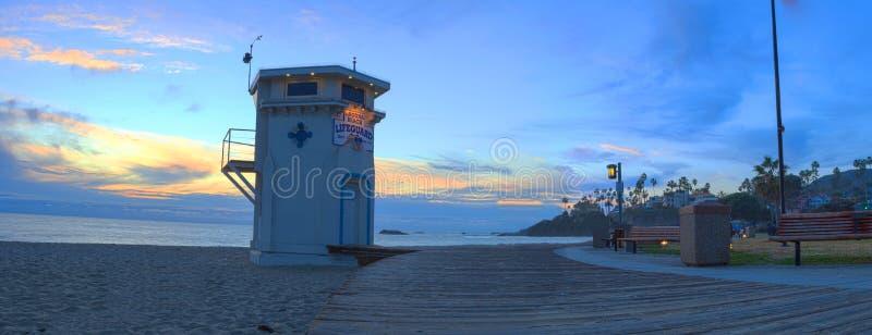 Панорамный взгляд променада на главном пляже стоковое фото rf