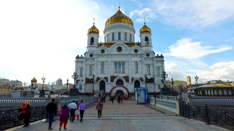 Панорамный взгляд собора Христоса мост спасителя и патриарх, Москва, Россия стоковое фото