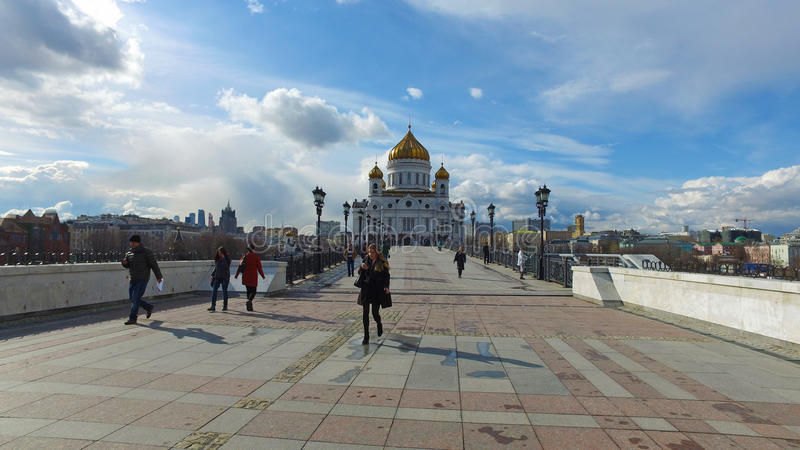 Панорамный взгляд собора Христоса мост спасителя и патриарх, Москва, Россия стоковое фото rf