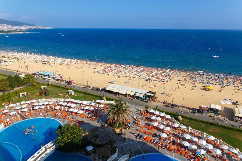 Панорамный взгляд солнечного пляжа стоковая фотография rf