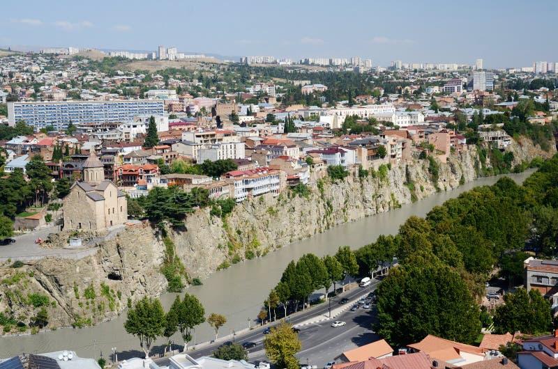 Панорамный взгляд старого Тбилиси, взгляд от крепости Narikala стоковое фото rf