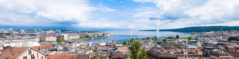 Панорамный взгляд фонтана Женевы стоковая фотография