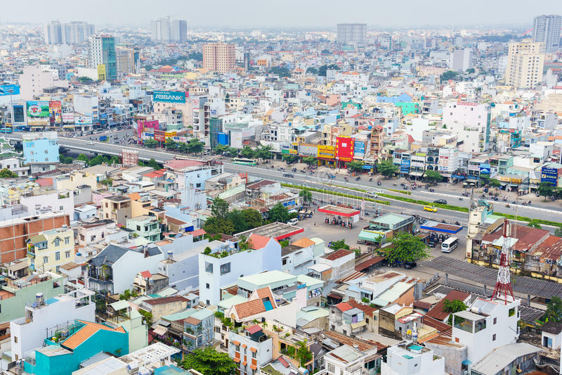Панорамный взгляд Хошимина, Вьетнама стоковое фото