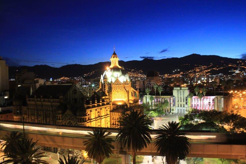 Панорамный взгляд центра города Medellin, Колумбия стоковые фото