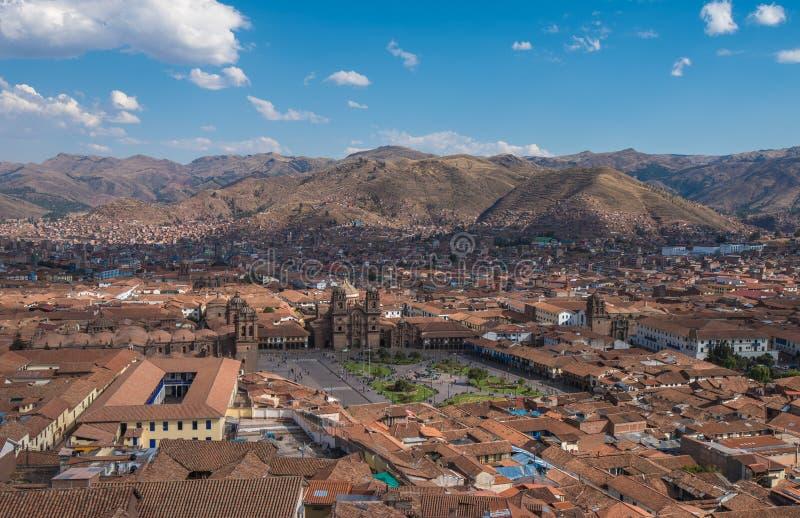 Панорамный взгляд центра Cusco исторического, Перу стоковые фотографии rf