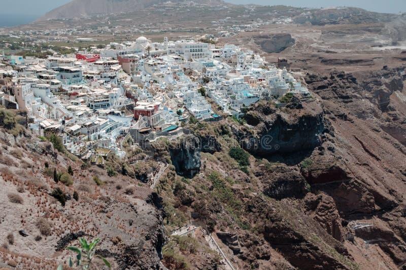 Панорамный взгляд Fira, Santorini, Греции стоковое изображение rf