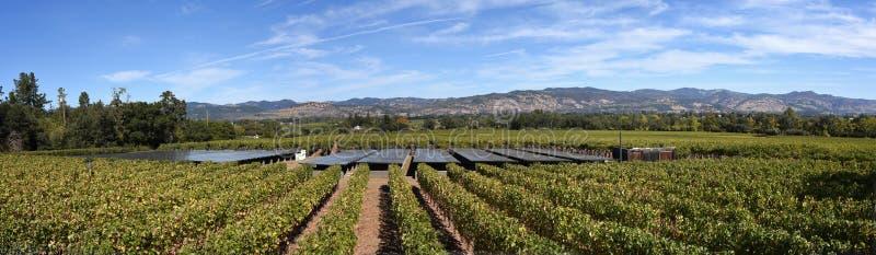 Панорамный взгляд Napa Valley от виноградника используя панели солнечных батарей для того чтобы привести винодельню в действие стоковые фотографии rf