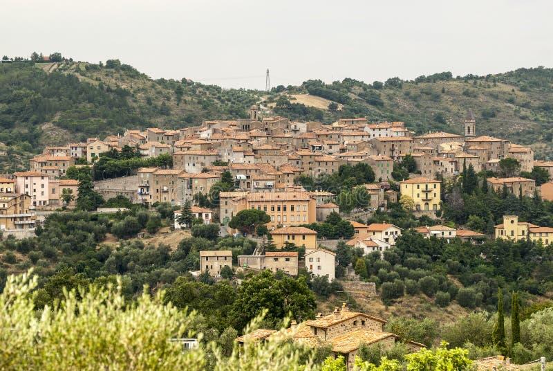 Панорамный взгляд Seggiano, в Тоскане стоковые фото