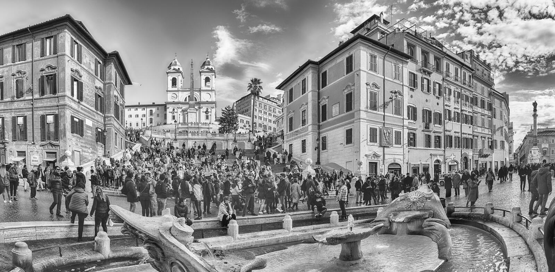 Панорамный вид Аркады di Spagna в Риме, Италии стоковое фото