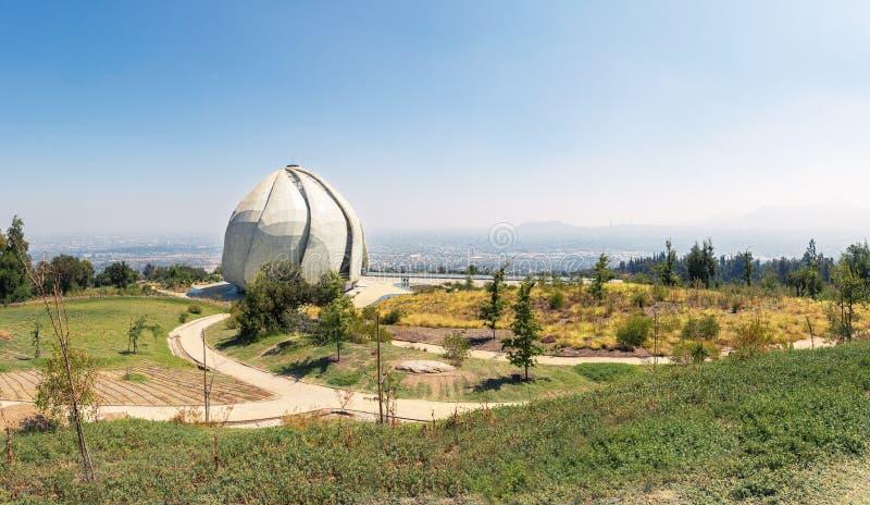 Панорамный вид виска молитвенного места Bahai - Сантьяго, Чили стоковое изображение