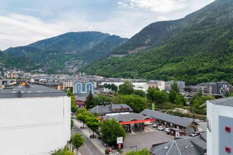 Панорамный вид города Андорра-ла-Вьехи стоковые фотографии rf