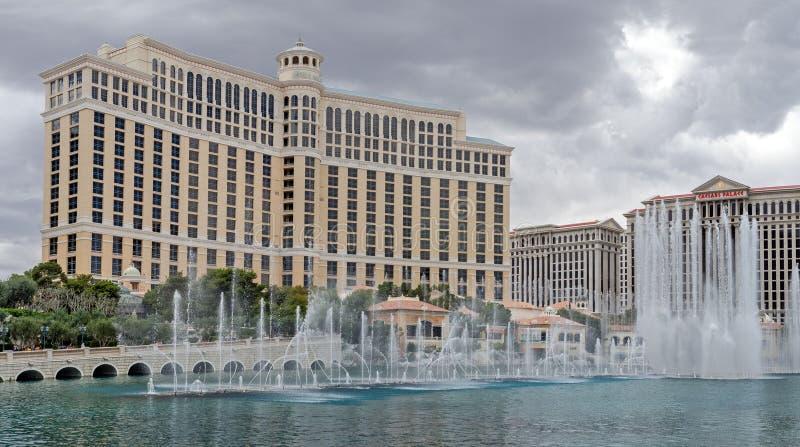Панорамный вид курорта Bellagio - роскошный отель и казино на прокладке Лас-Вегас стоковое изображение rf