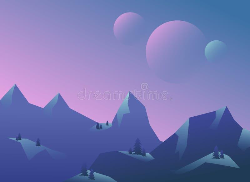 Панорамный вид ландшафта горы иллюстрация вектора